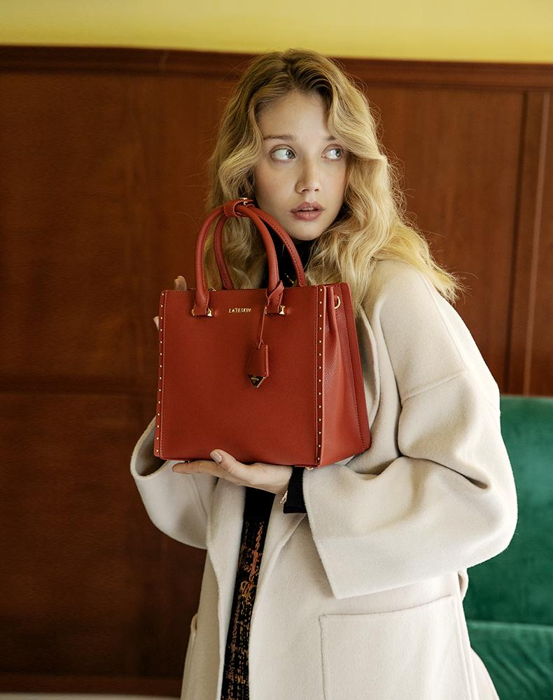 【下单赠丝巾】拉菲斯汀质感女包包复古港风斜挎包女凯莉包