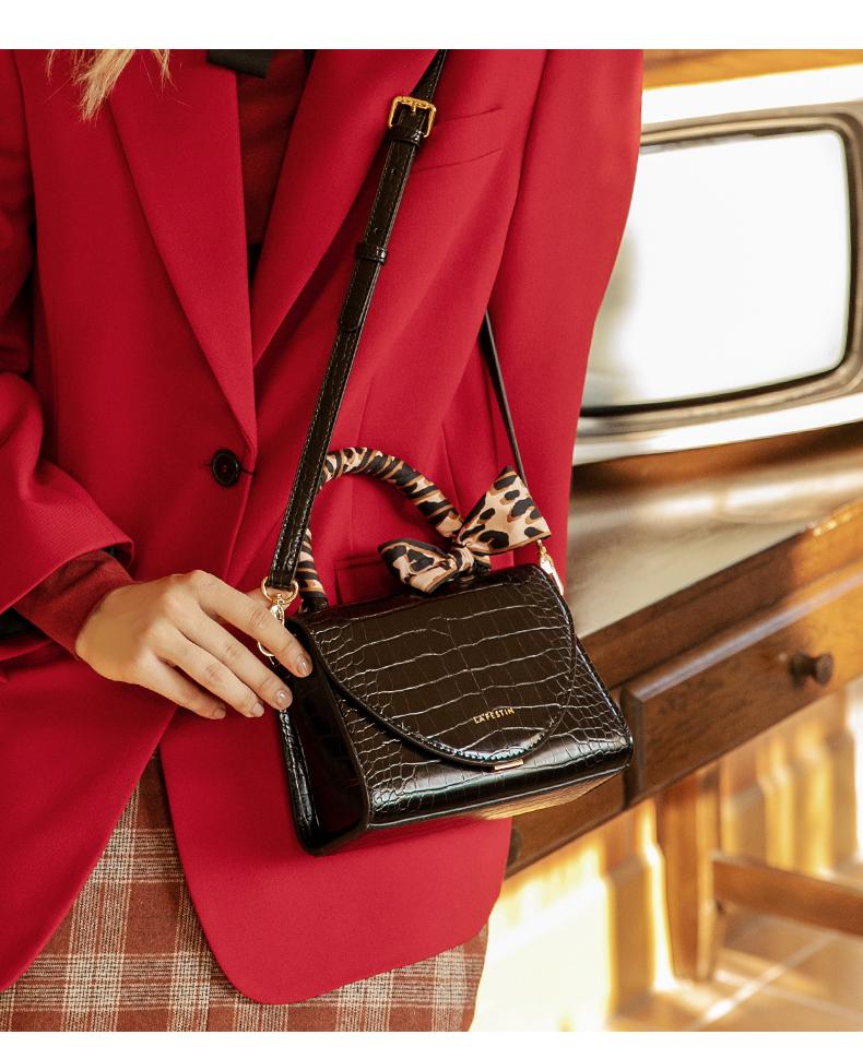 【下单赠丝巾】拉菲斯汀时尚气质鳄鱼纹丝巾斜挎包手拎凯莉包