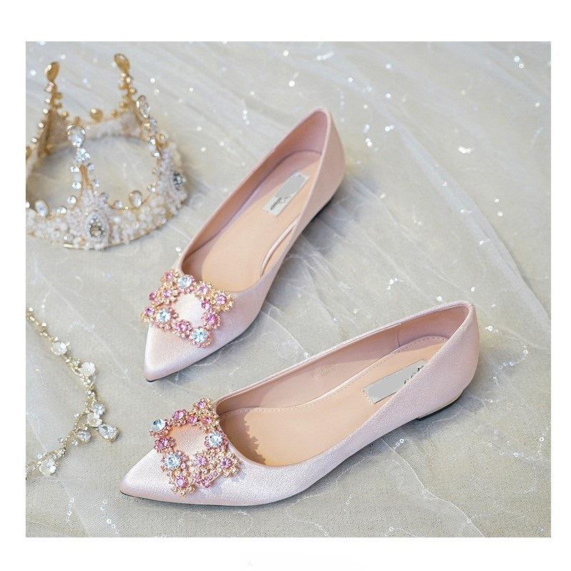 三种颜色 优雅水钻方扣平底1.5cm婚鞋