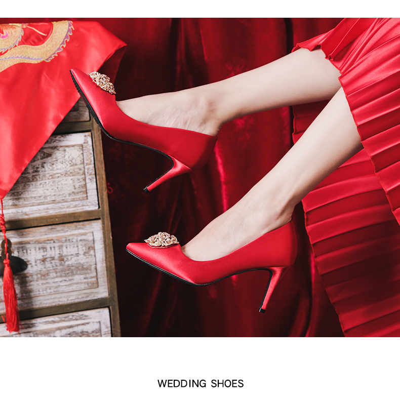 2种跟高 金钻圆珠饰缎面奢华高跟秀禾服婚鞋