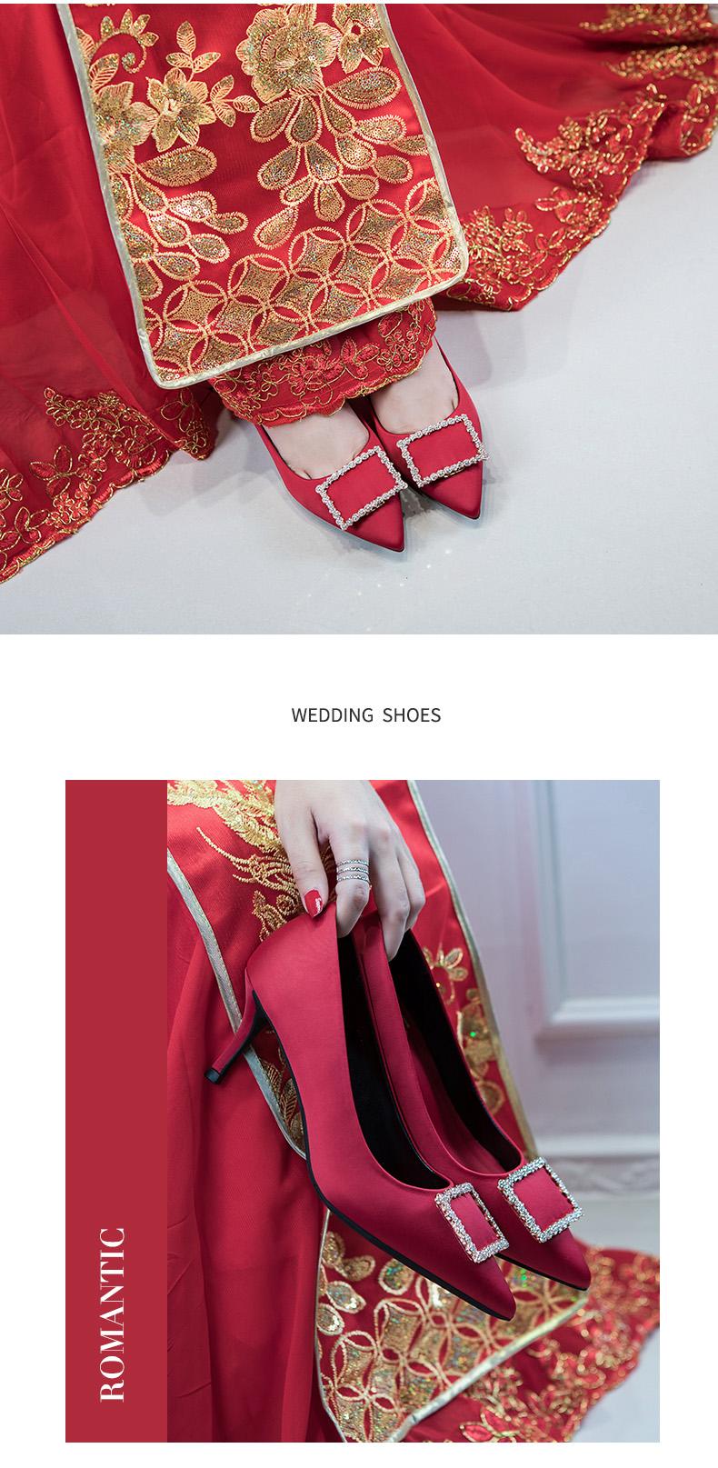 2种跟高 优雅方形钻扣款缎面高跟婚鞋