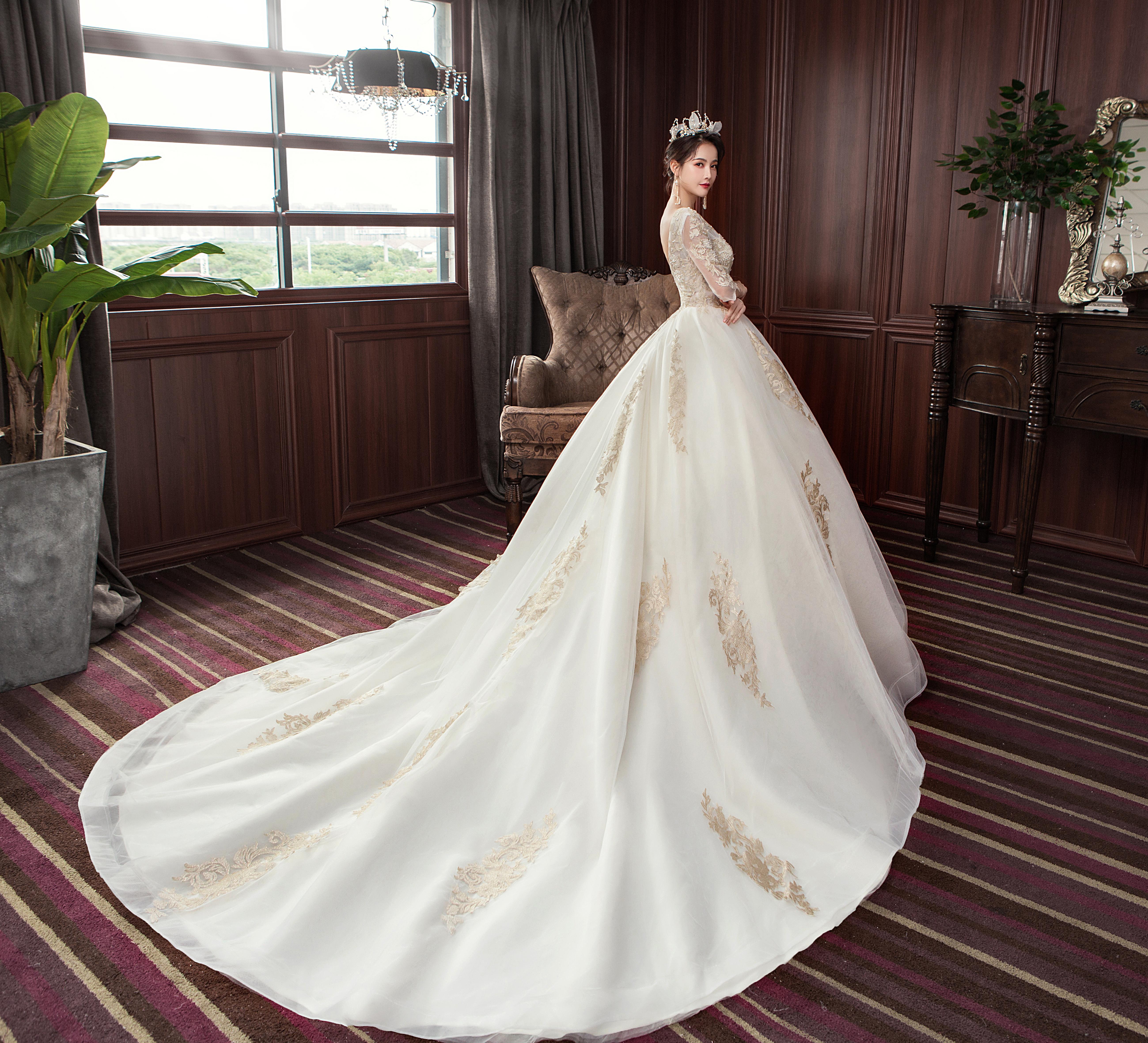 法式优雅唯美长袖婚纱•送三件套