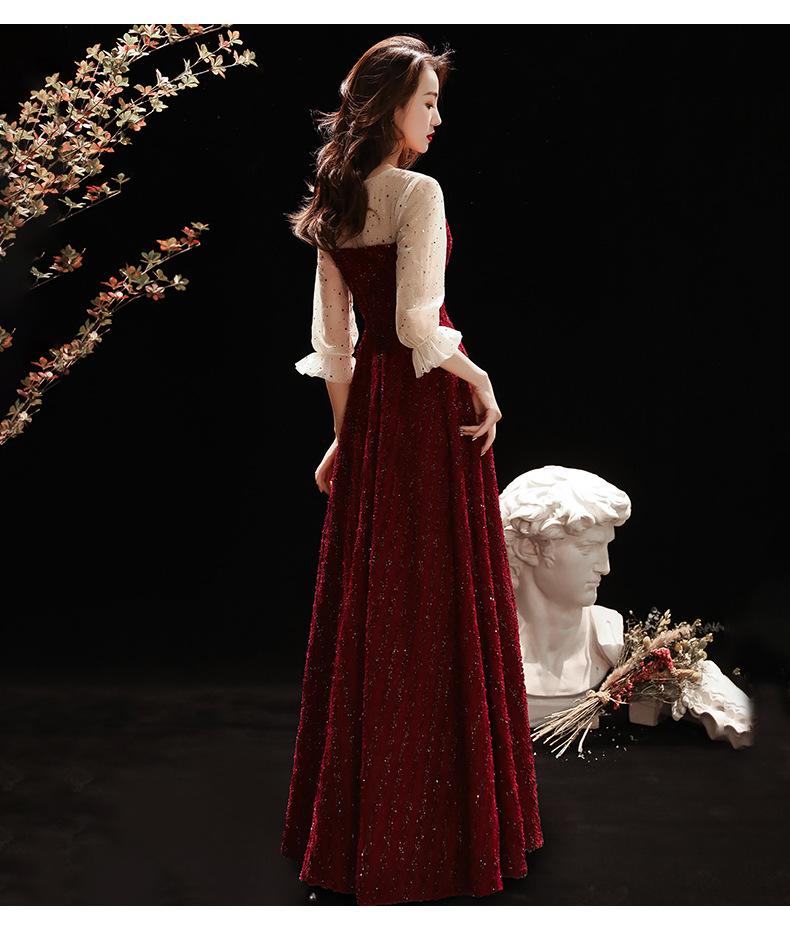 春秋新款酒红色修身显瘦敬酒服