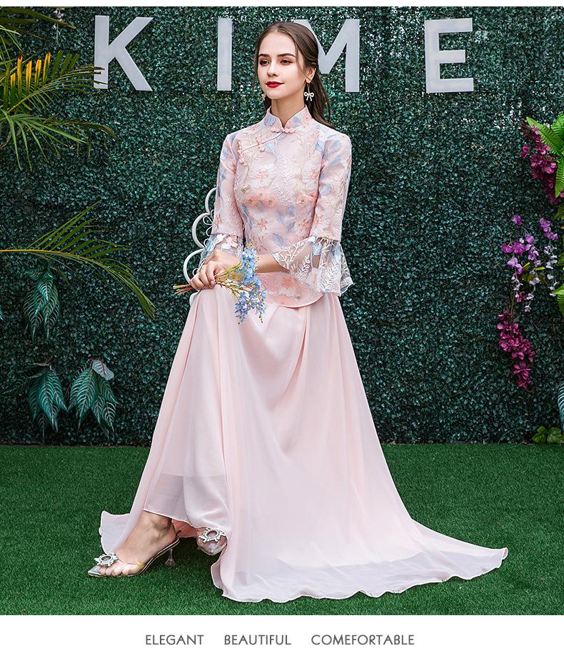 中式姐妹裙中国风显瘦长袖伴娘服