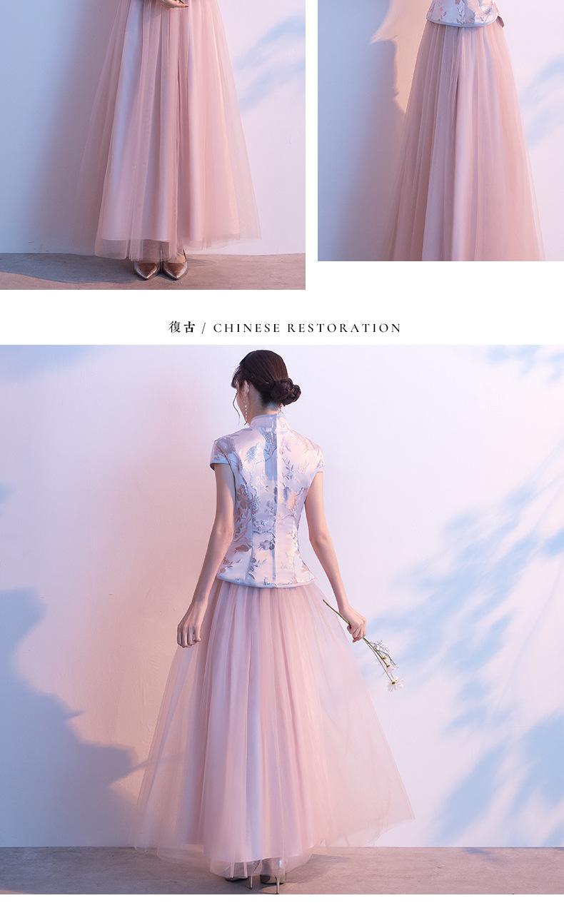 中式春季粉色中国风长袖伴娘服