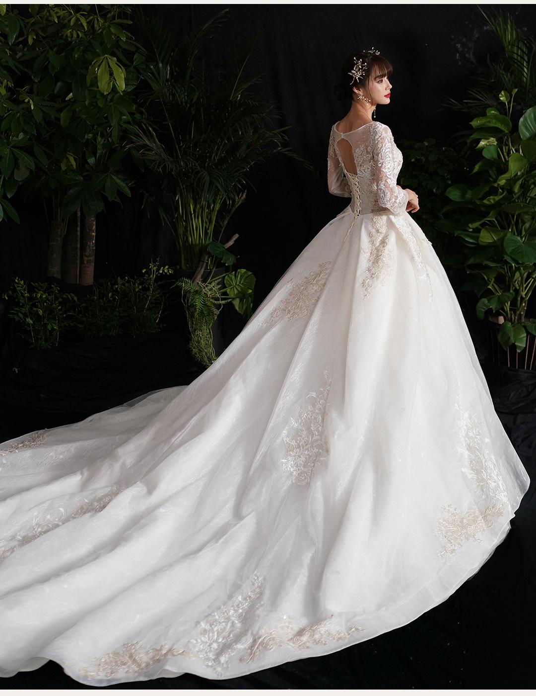 法式复古简约长袖婚纱